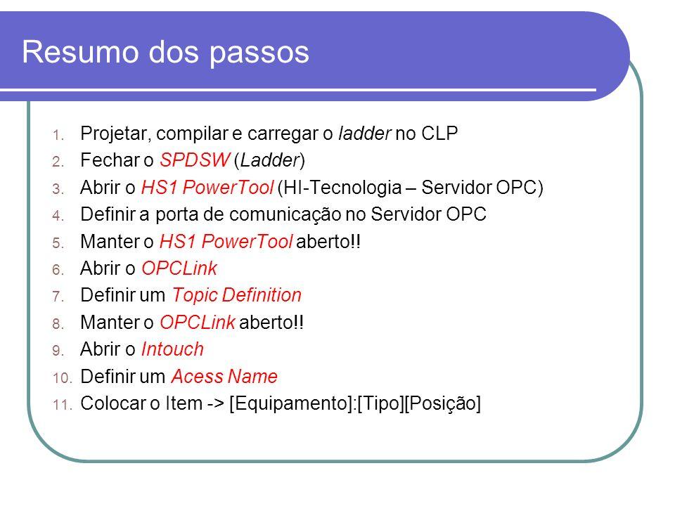 Resumo dos passos Projetar, compilar e carregar o ladder no CLP