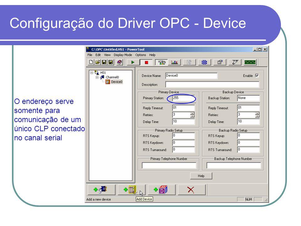Configuração do Driver OPC - Device