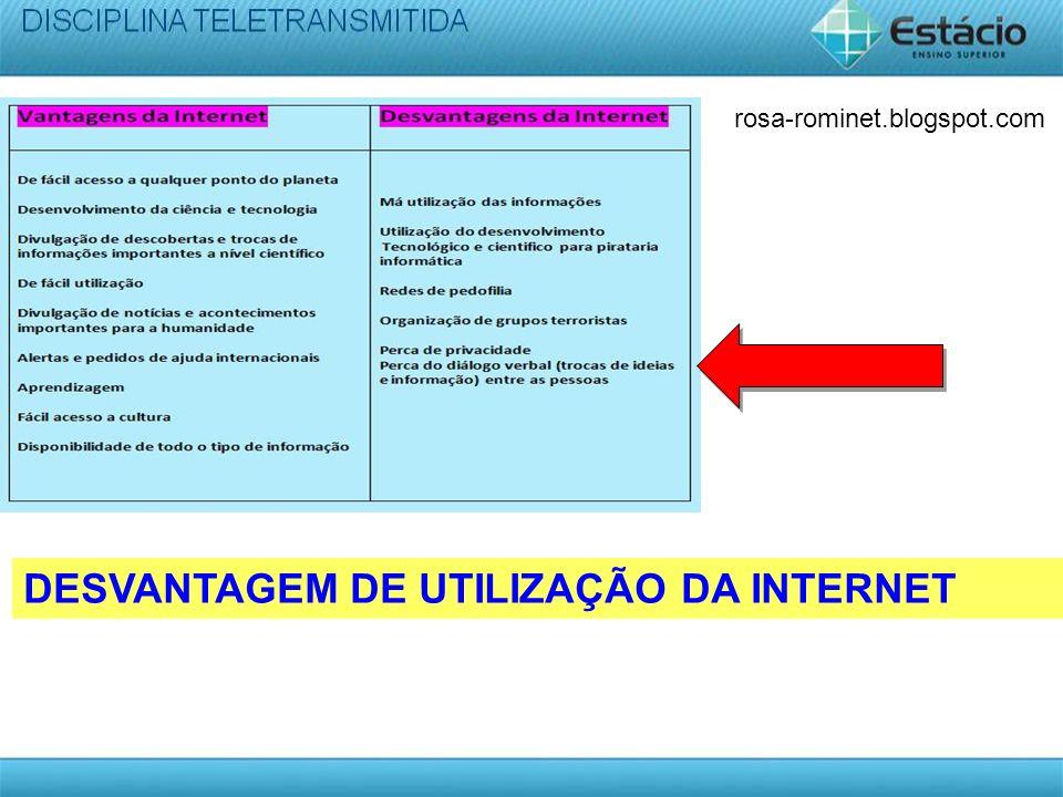 DESVANTAGEM DE UTILIZAÇÃO DA INTERNET