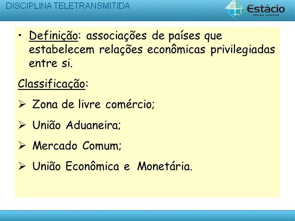 Definição: associações de países que estabelecem relações econômicas privilegiadas entre si.