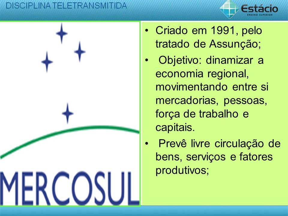 Criado em 1991, pelo tratado de Assunção;