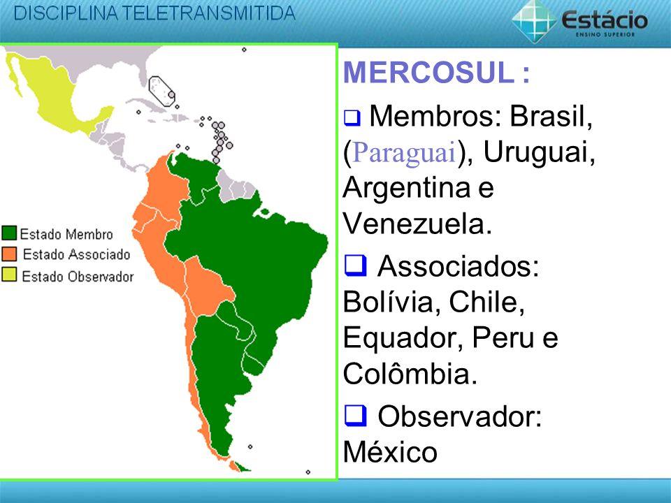 Associados: Bolívia, Chile, Equador, Peru e Colômbia.