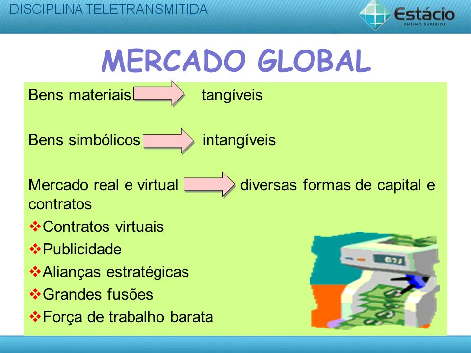 MERCADO GLOBAL Bens materiais tangíveis Bens simbólicos intangíveis