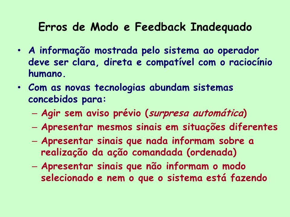 Erros de Modo e Feedback Inadequado
