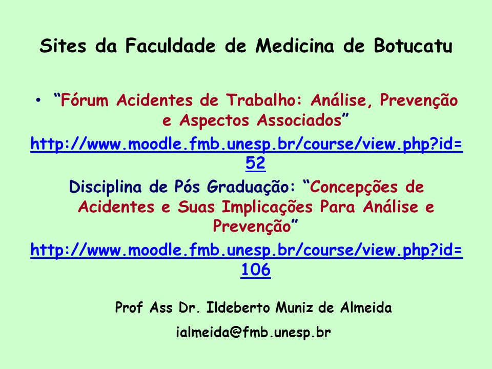 Sites da Faculdade de Medicina de Botucatu
