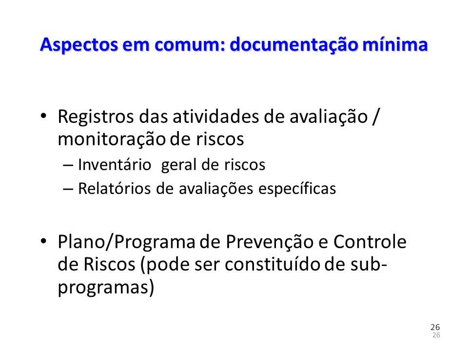 Aspectos em comum: documentação mínima