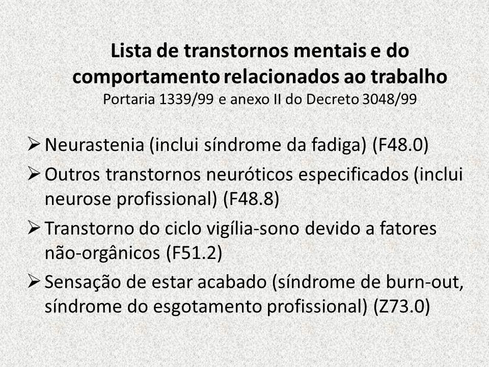 Lista de transtornos mentais e do comportamento relacionados ao trabalho Portaria 1339/99 e anexo II do Decreto 3048/99