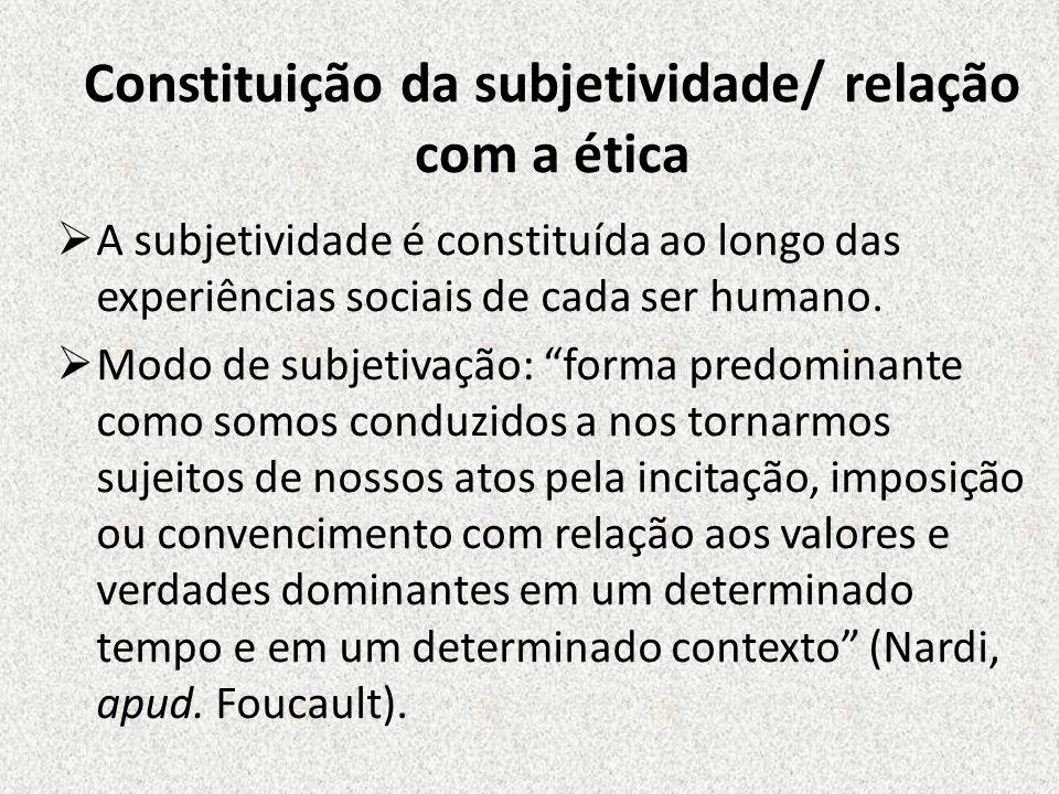 Constituição da subjetividade/ relação com a ética