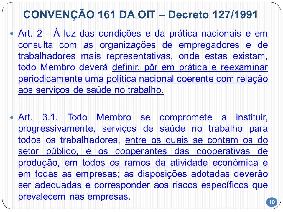 CONVENÇÃO 161 DA OIT – Decreto 127/1991
