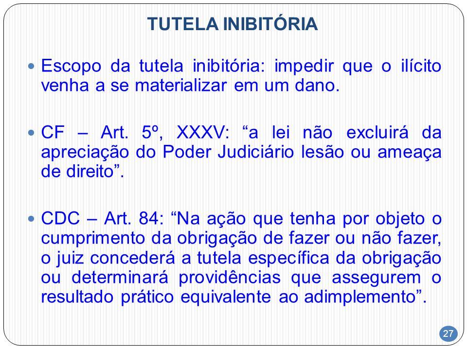 TUTELA INIBITÓRIAEscopo da tutela inibitória: impedir que o ilícito venha a se materializar em um dano.