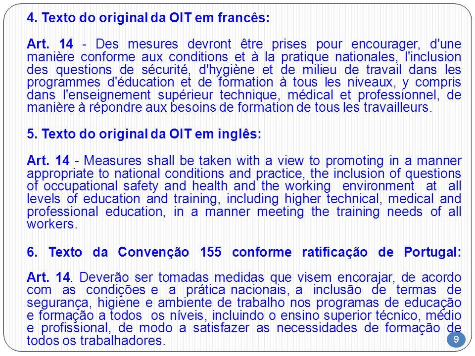 4. Texto do original da OIT em francês: