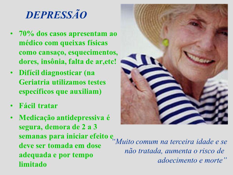 DEPRESSÃO70% dos casos apresentam ao médico com queixas físicas como cansaço, esquecimentos, dores, insônia, falta de ar,etc!