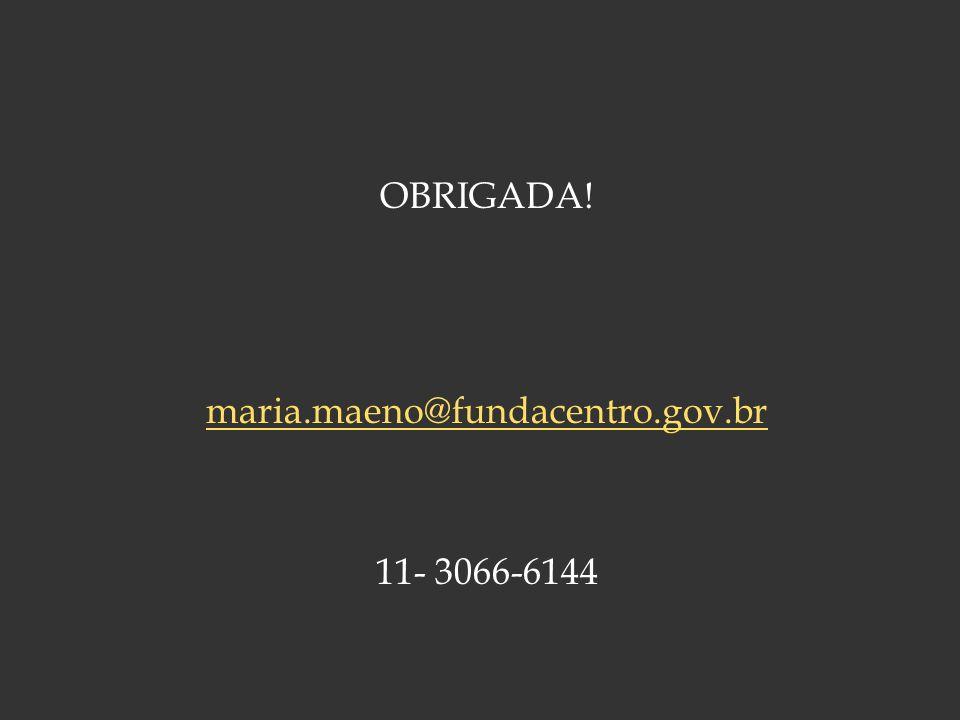 OBRIGADA! maria.maeno@fundacentro.gov.br 11- 3066-6144