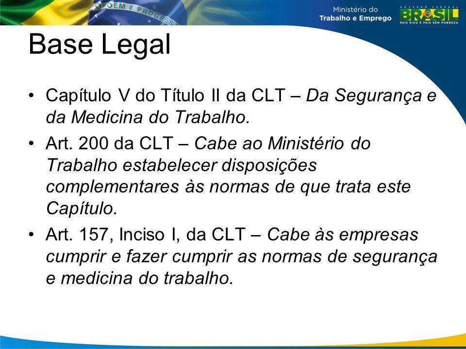Base Legal Capítulo V do Título II da CLT – Da Segurança e da Medicina do Trabalho.