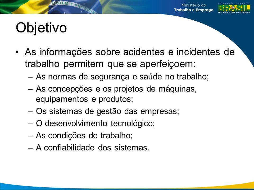 Objetivo As informações sobre acidentes e incidentes de trabalho permitem que se aperfeiçoem: As normas de segurança e saúde no trabalho;