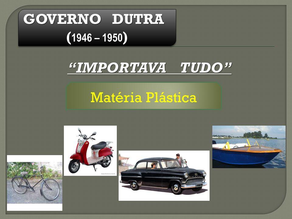 GOVERNO DUTRA (1946 – 1950) IMPORTAVA TUDO Matéria Plástica