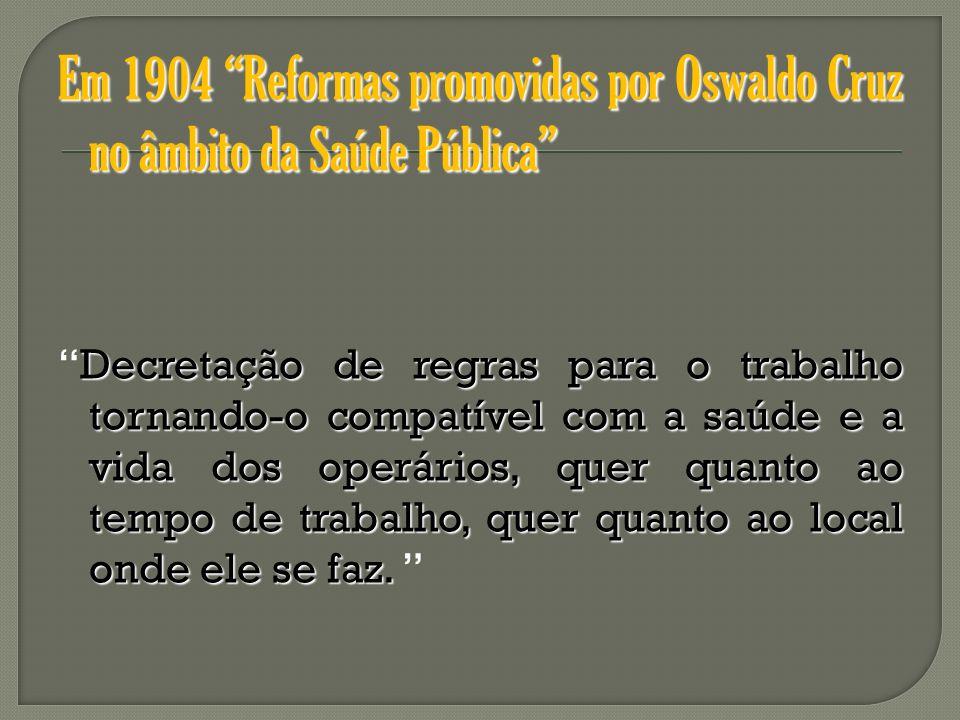 Em 1904 Reformas promovidas por Oswaldo Cruz no âmbito da Saúde Pública