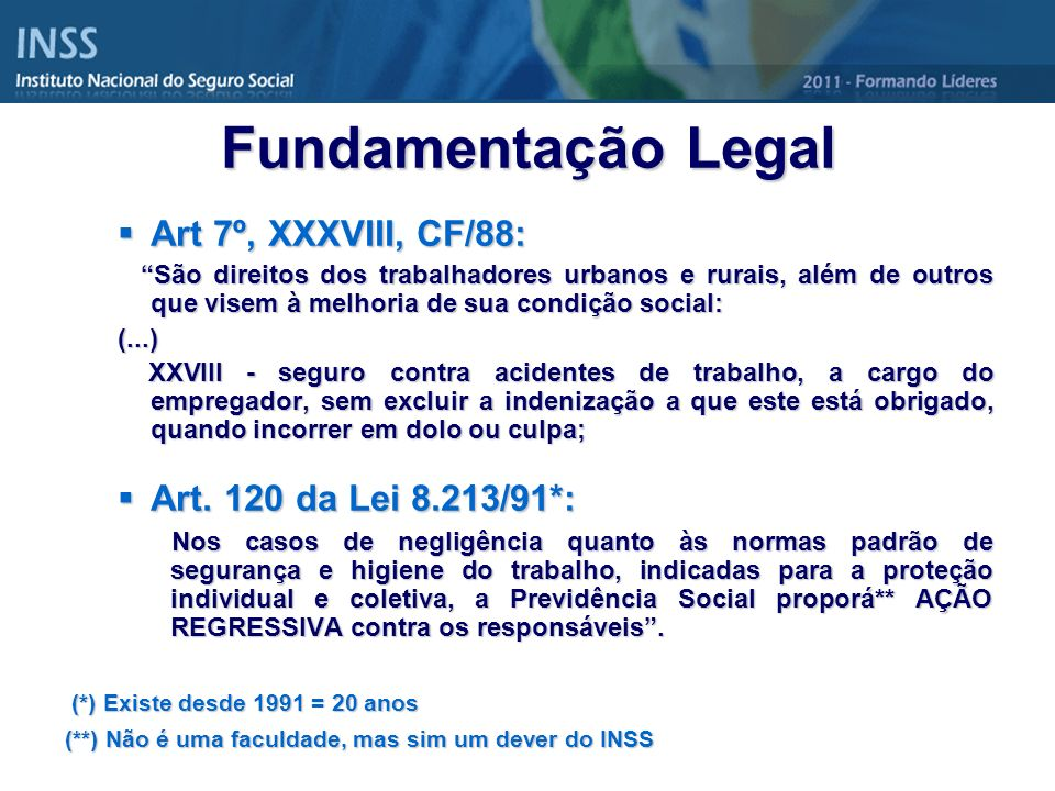 Fundamentação Legal Art 7º, XXXVIII, CF/88: Art. 120 da Lei 8.213/91*: