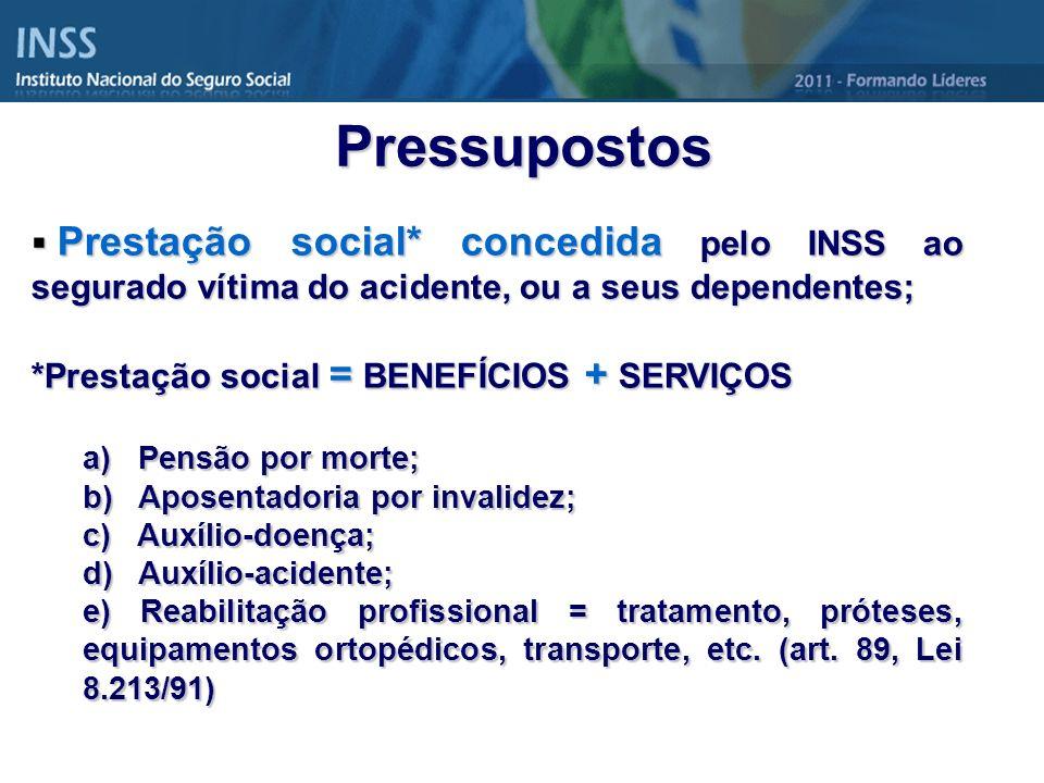 Pressupostos Prestação social* concedida pelo INSS ao segurado vítima do acidente, ou a seus dependentes;