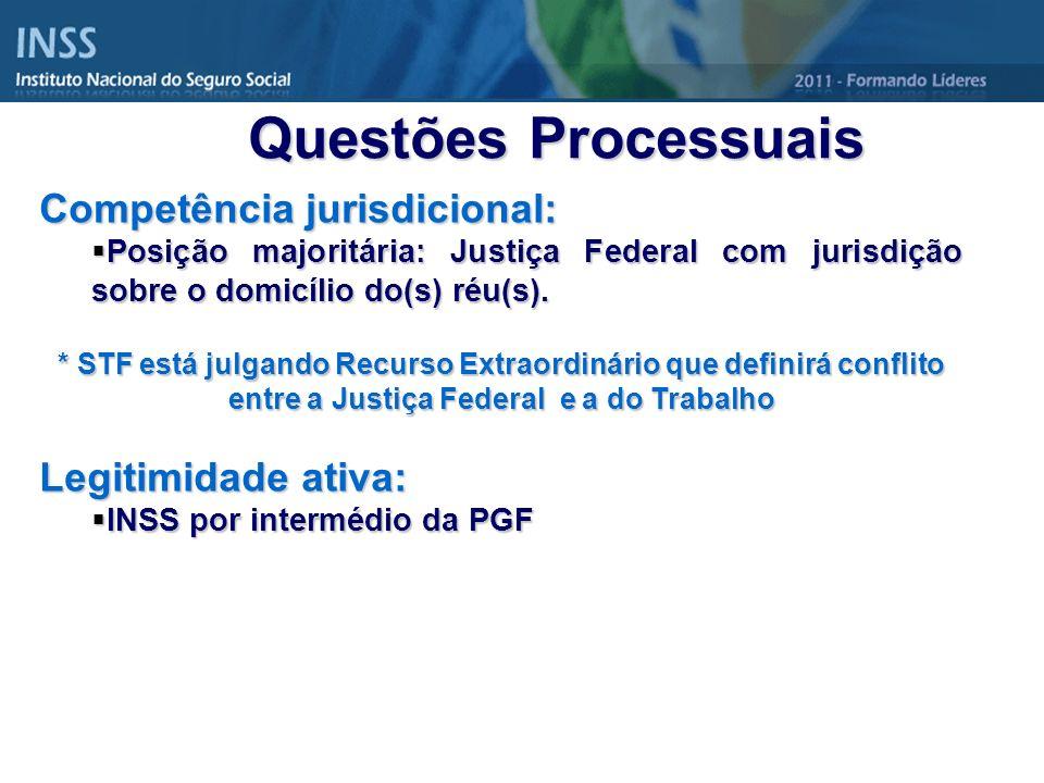 Questões Processuais Competência jurisdicional: Legitimidade ativa: