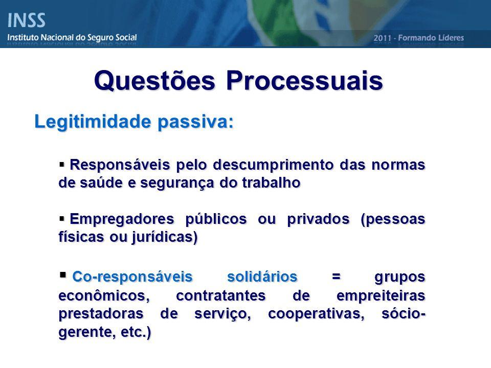 Questões Processuais Legitimidade passiva: