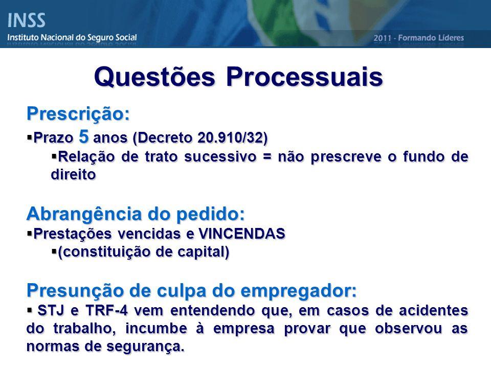 Questões Processuais Prescrição: Abrangência do pedido: