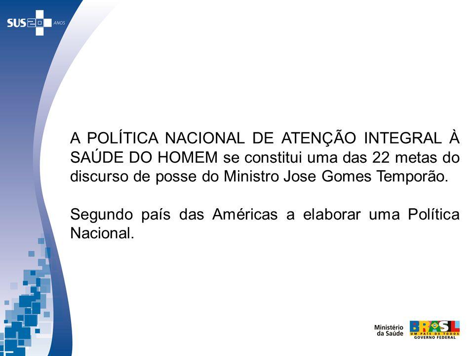 A POLÍTICA NACIONAL DE ATENÇÃO INTEGRAL À SAÚDE DO HOMEM se constitui uma das 22 metas do discurso de posse do Ministro Jose Gomes Temporão.