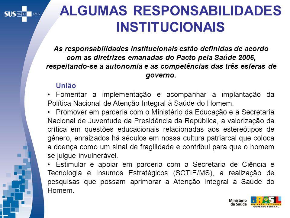 ALGUMAS RESPONSABILIDADES INSTITUCIONAIS