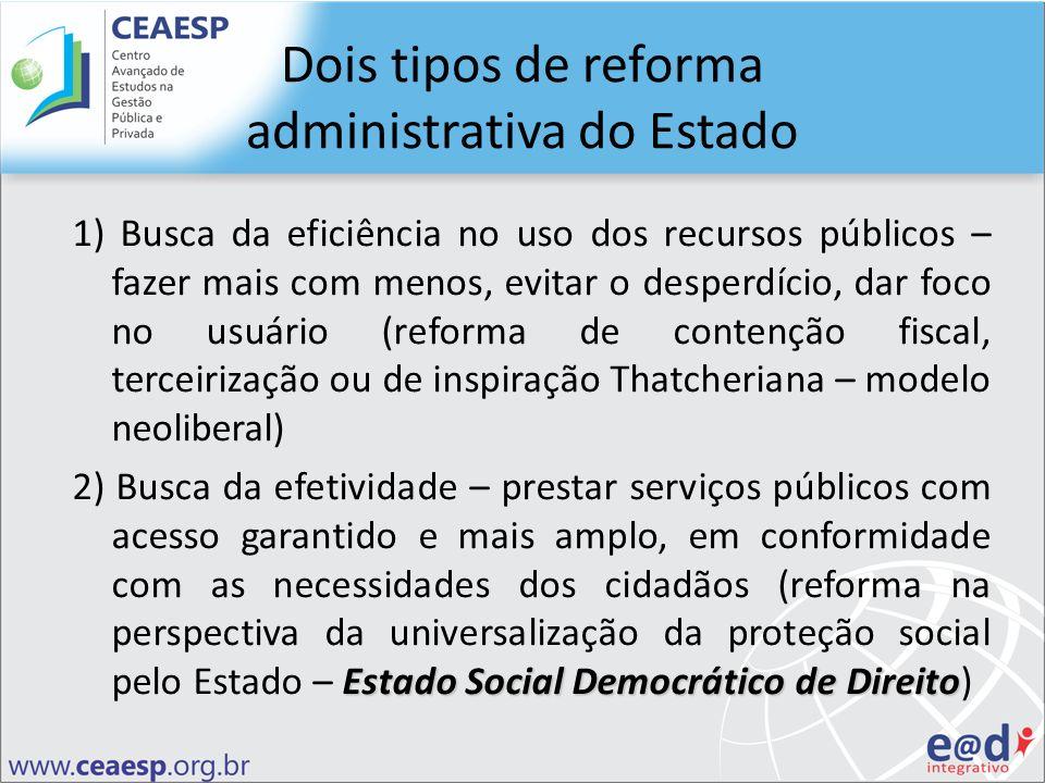 Dois tipos de reforma administrativa do Estado