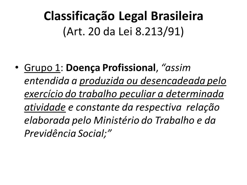 Classificação Legal Brasileira (Art. 20 da Lei 8.213/91)