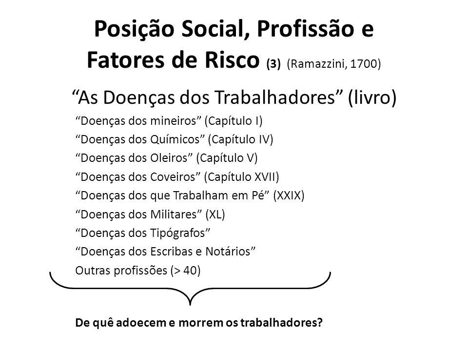 Posição Social, Profissão e Fatores de Risco (3) (Ramazzini, 1700)