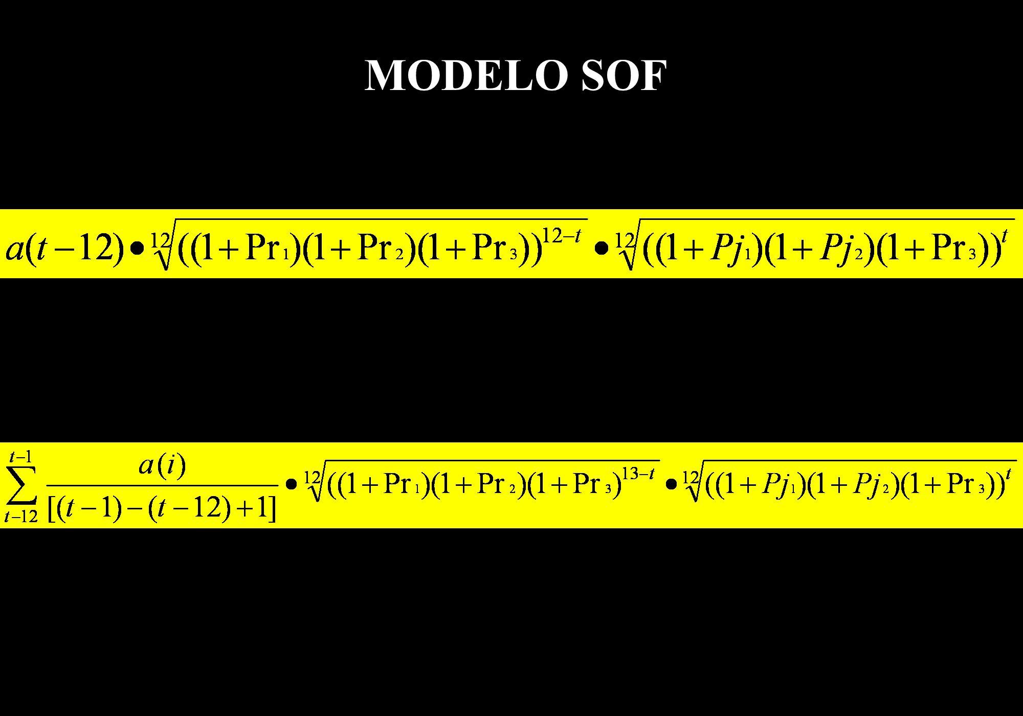 MODELO SOF a = arrecadação de um período considerado t = mês atual