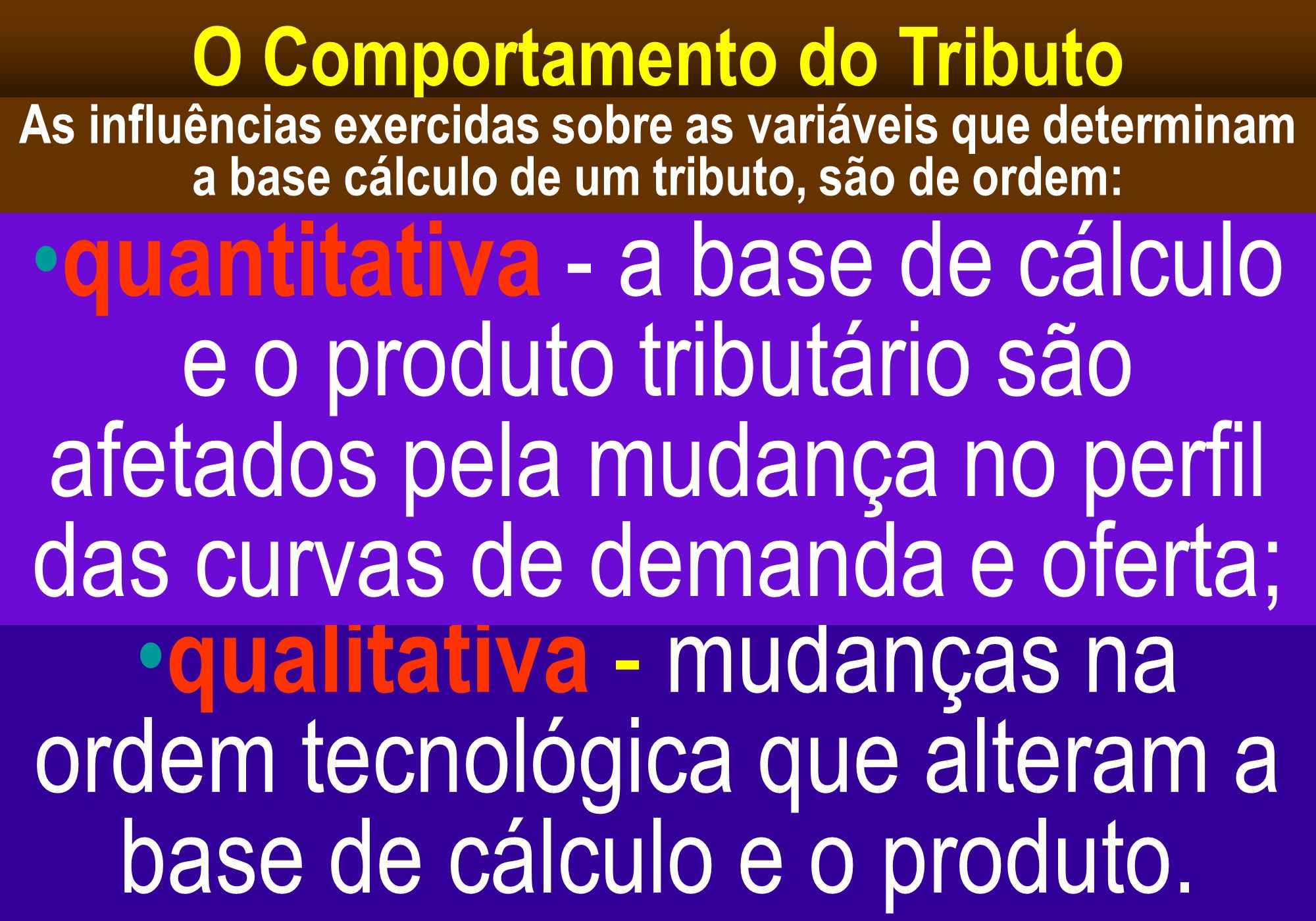 O Comportamento do Tributo