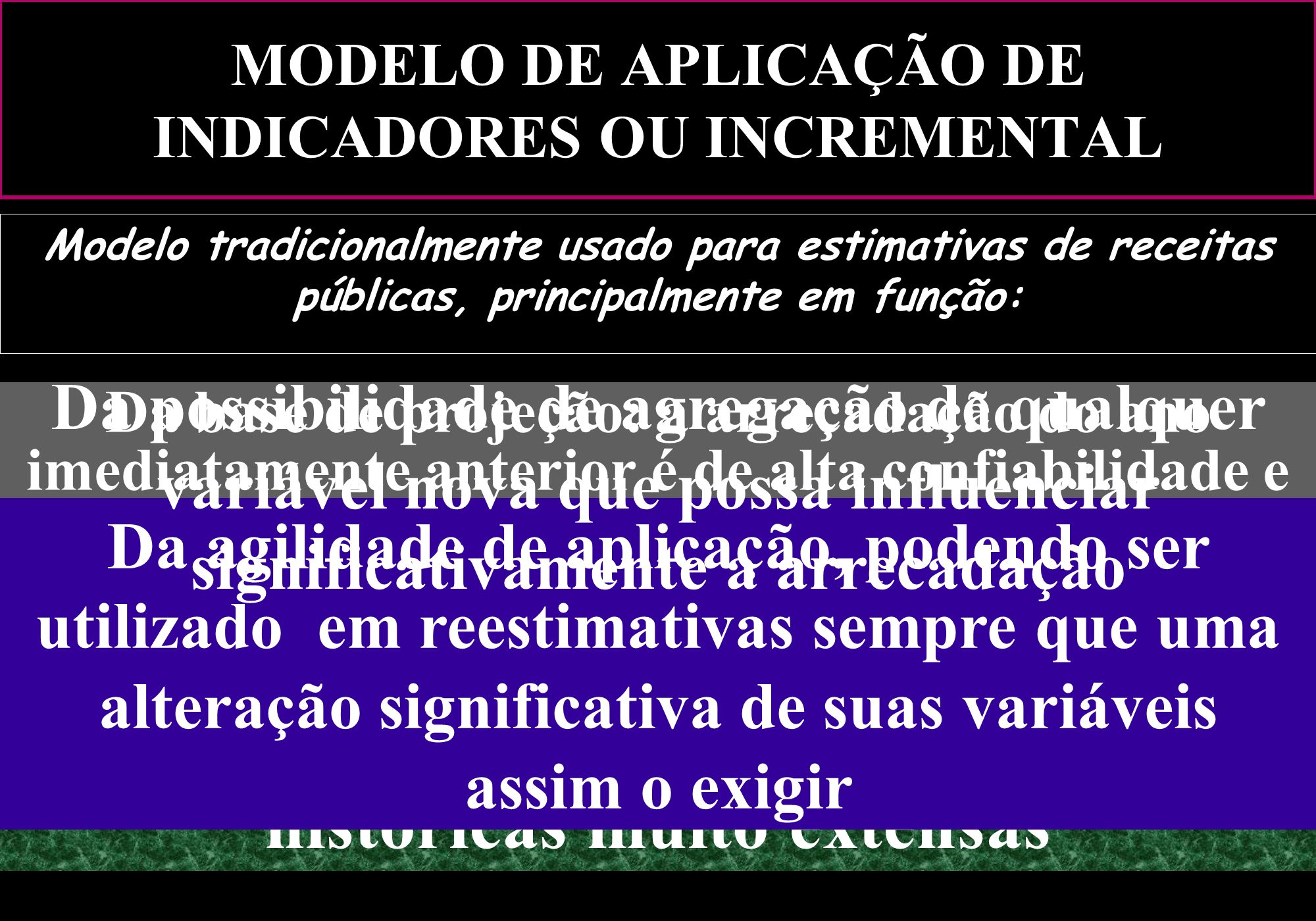 MODELO DE APLICAÇÃO DE INDICADORES OU INCREMENTAL