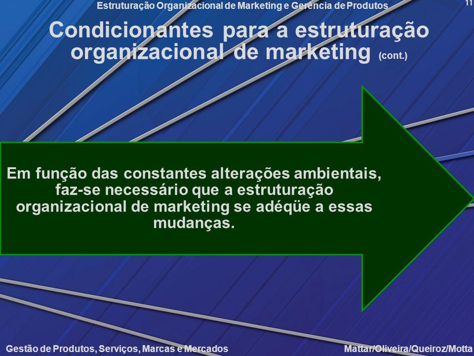 Condicionantes para a estruturação organizacional de marketing (cont.)