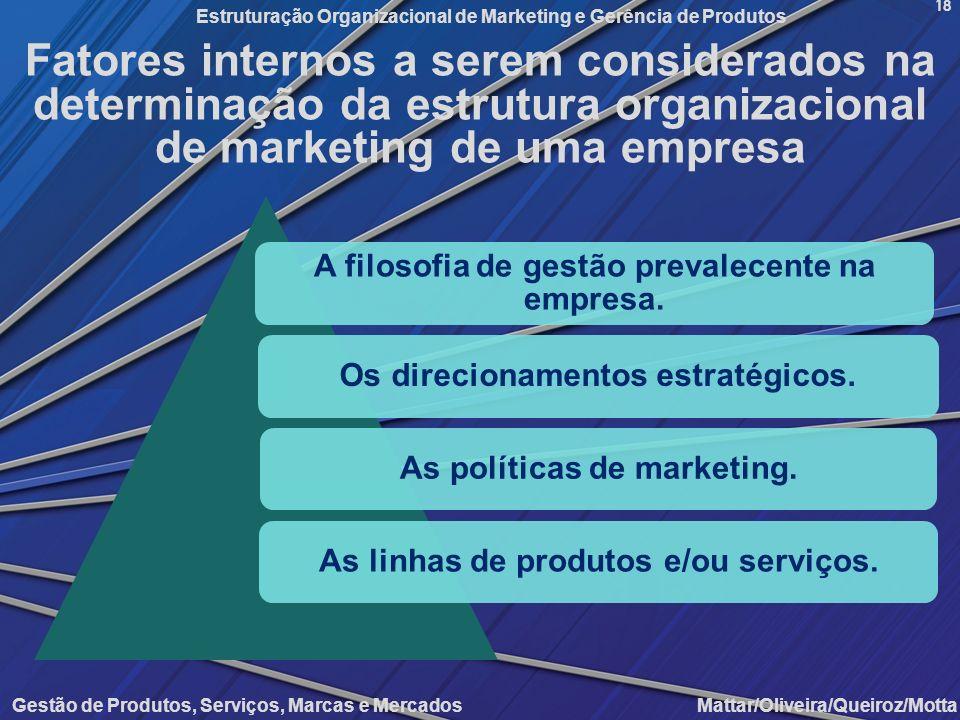 Fatores internos a serem considerados na determinação da estrutura organizacional de marketing de uma empresa
