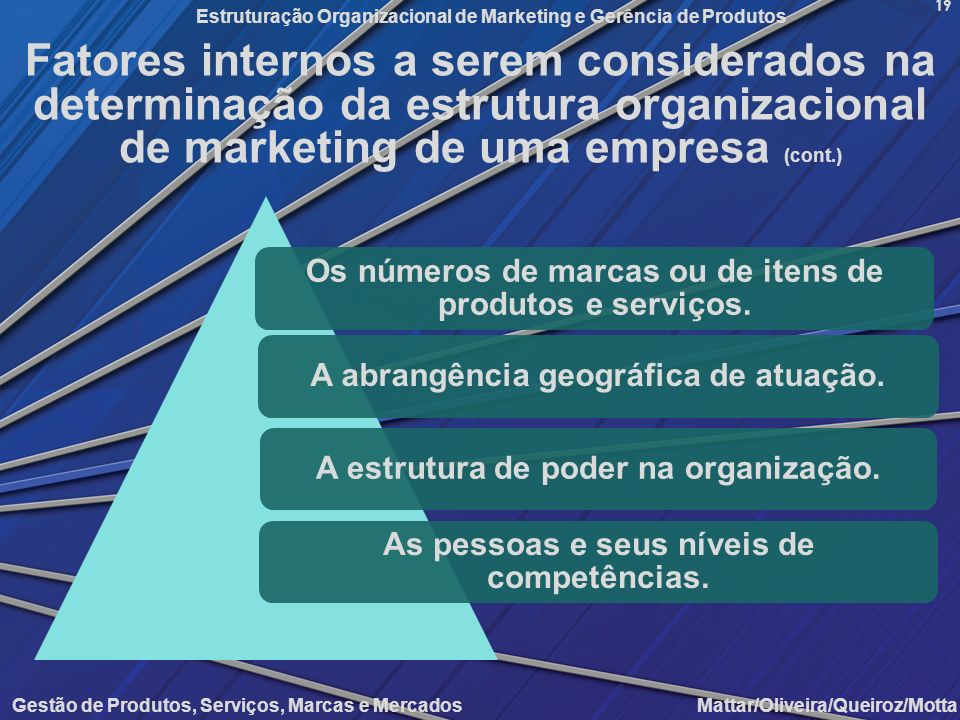 Fatores internos a serem considerados na determinação da estrutura organizacional de marketing de uma empresa (cont.)