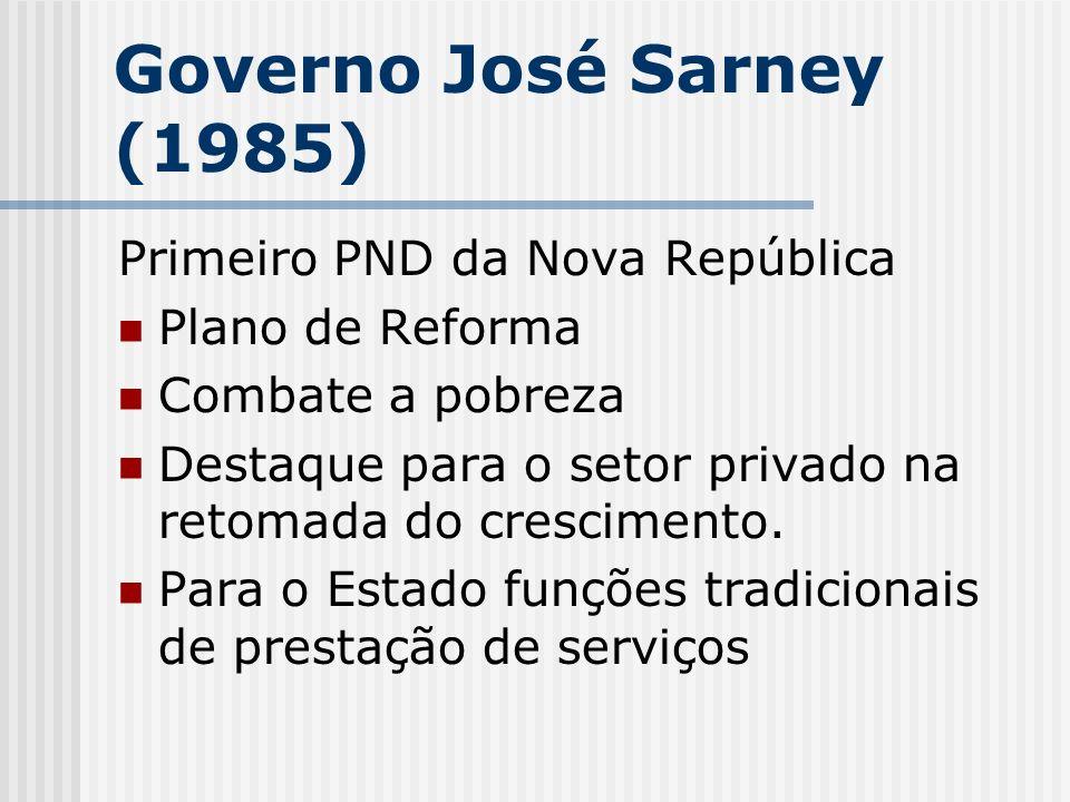 Governo José Sarney (1985) Primeiro PND da Nova República