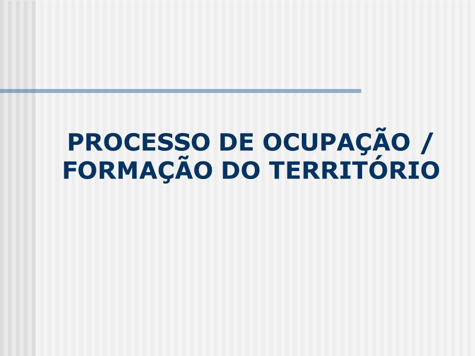 PROCESSO DE OCUPAÇÃO / FORMAÇÃO DO TERRITÓRIO