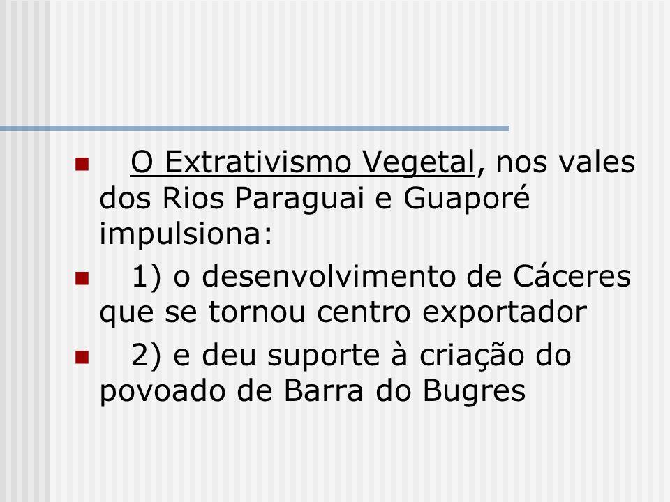 O Extrativismo Vegetal, nos vales dos Rios Paraguai e Guaporé impulsiona: