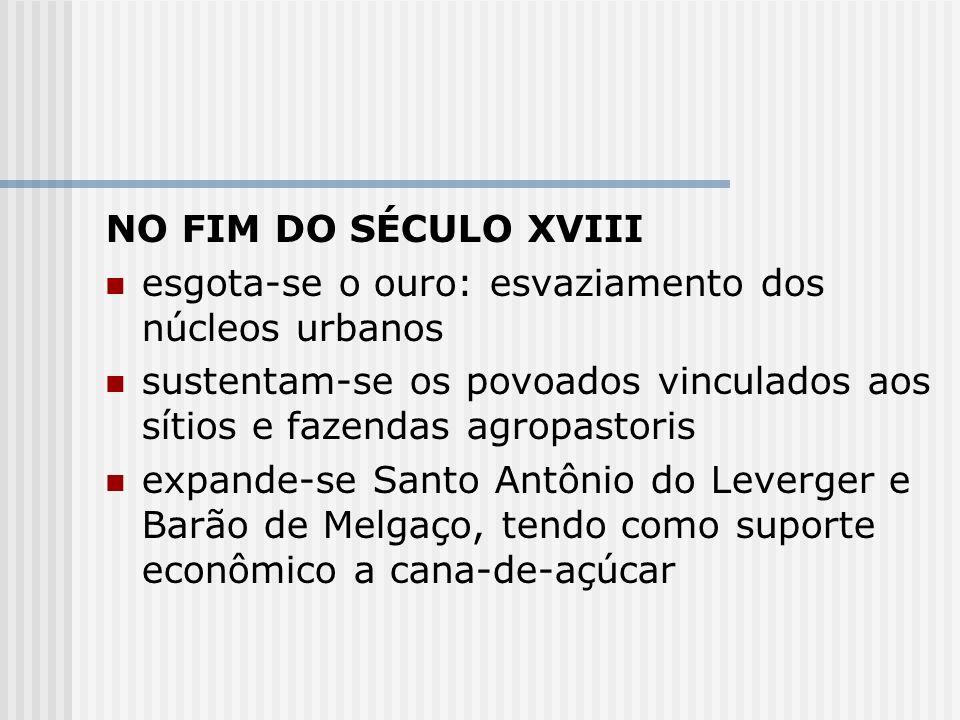 NO FIM DO SÉCULO XVIIIesgota-se o ouro: esvaziamento dos núcleos urbanos. sustentam-se os povoados vinculados aos sítios e fazendas agropastoris.