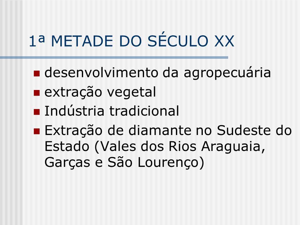1ª METADE DO SÉCULO XX desenvolvimento da agropecuária