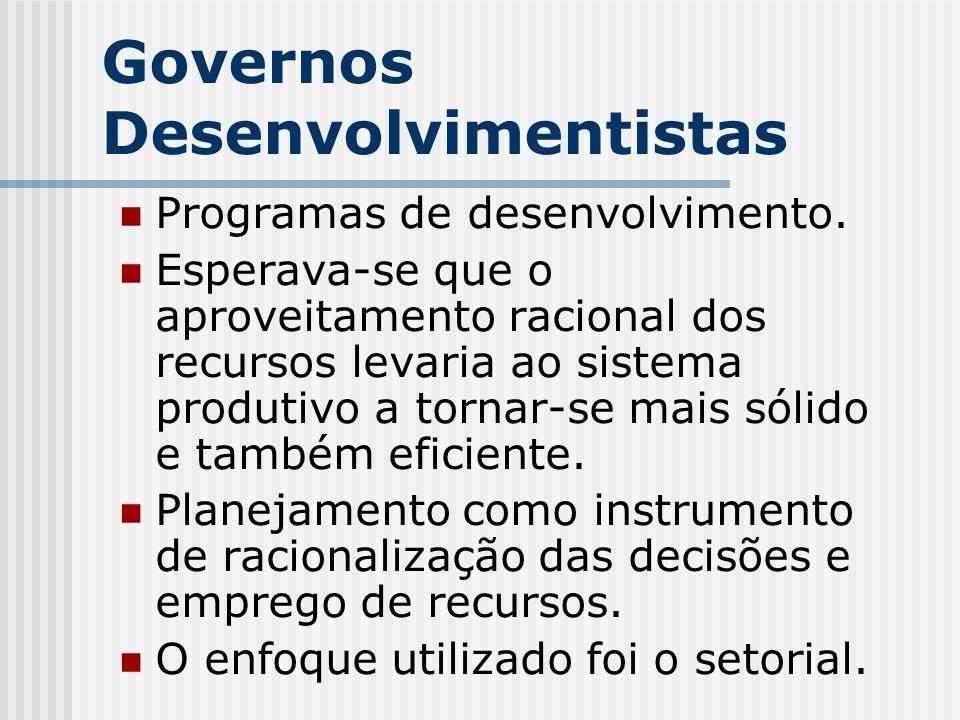 Governos Desenvolvimentistas