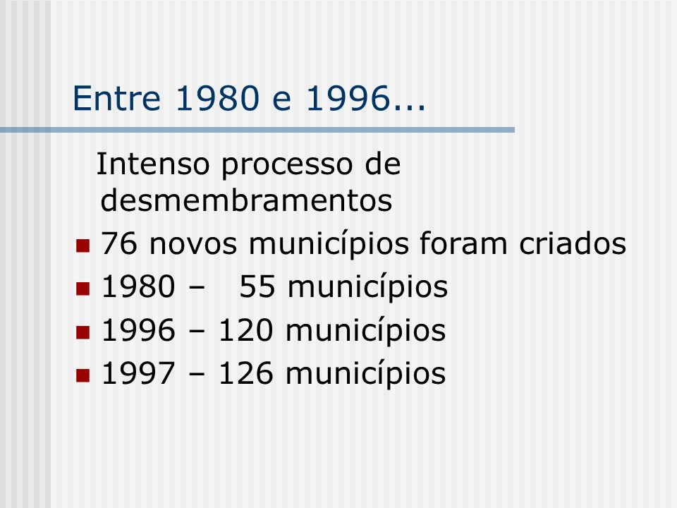 Entre 1980 e 1996... Intenso processo de desmembramentos