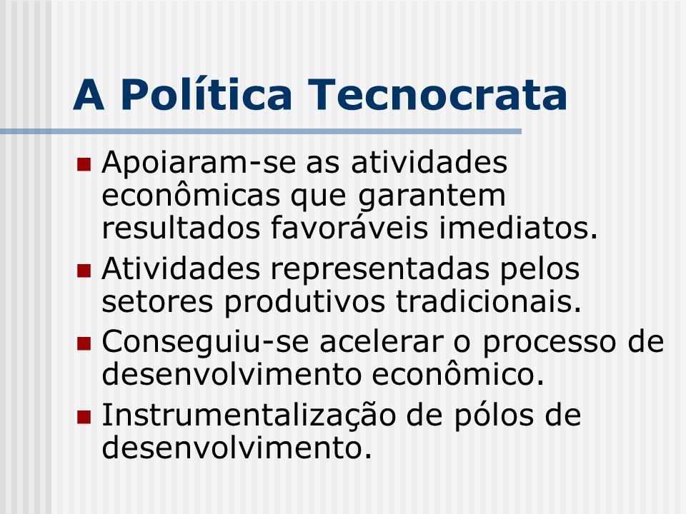 A Política Tecnocrata Apoiaram-se as atividades econômicas que garantem resultados favoráveis imediatos.