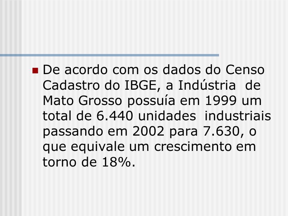 De acordo com os dados do Censo Cadastro do IBGE, a Indústria de Mato Grosso possuía em 1999 um total de 6.440 unidades industriais passando em 2002 para 7.630, o que equivale um crescimento em torno de 18%.