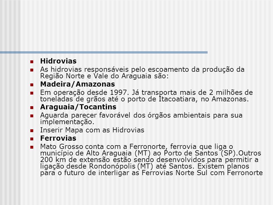 HidroviasAs hidrovias responsáveis pelo escoamento da produção da Região Norte e Vale do Araguaia são: