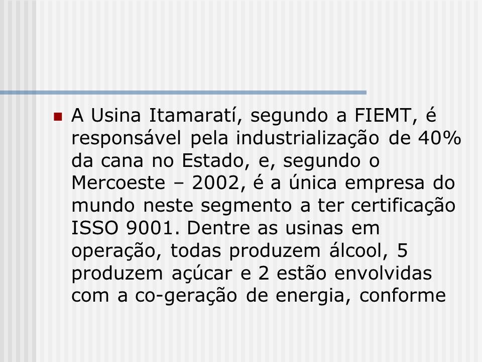 A Usina Itamaratí, segundo a FIEMT, é responsável pela industrialização de 40% da cana no Estado, e, segundo o Mercoeste – 2002, é a única empresa do mundo neste segmento a ter certificação ISSO 9001.