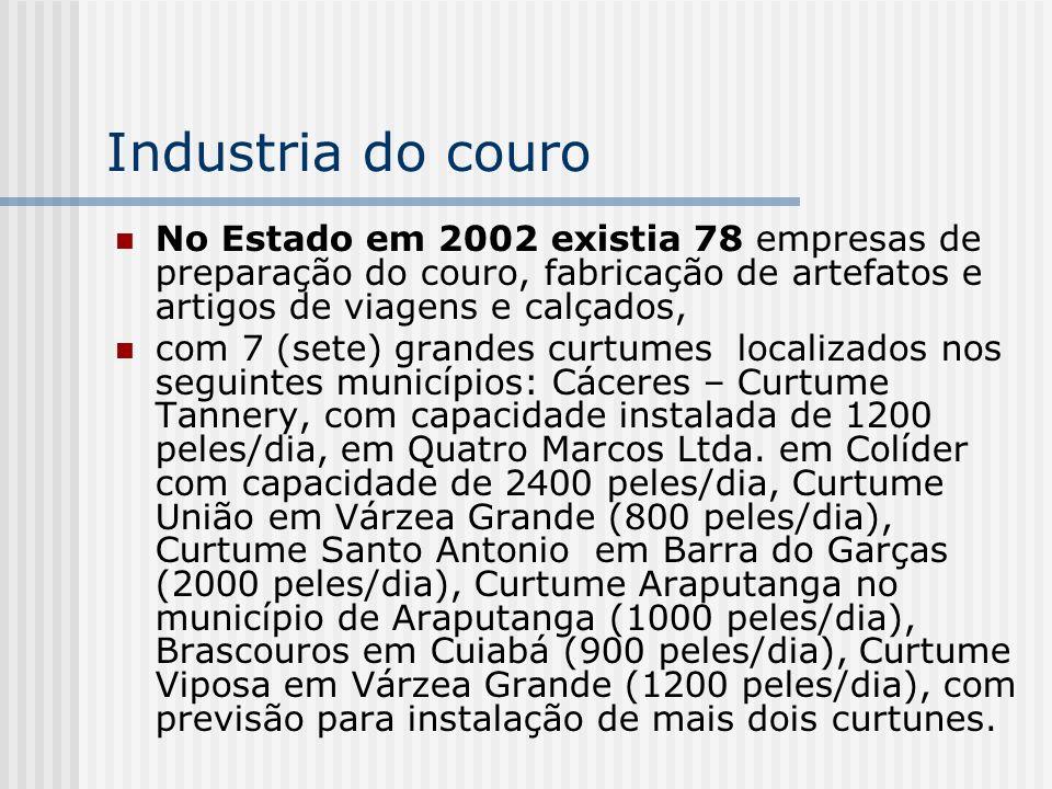 Industria do couro No Estado em 2002 existia 78 empresas de preparação do couro, fabricação de artefatos e artigos de viagens e calçados,