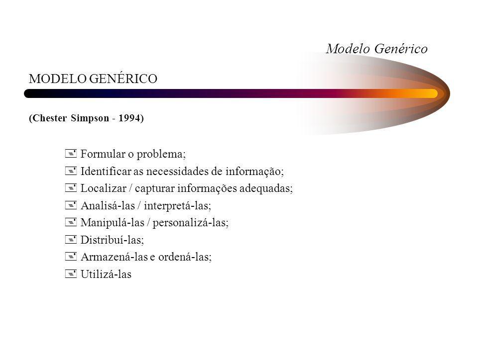 Modelo Genérico MODELO GENÉRICO Formular o problema;